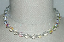 LAGUNA Clear Aurora Borealis Crystal Necklace Silver Toned B Vintage - $29.70