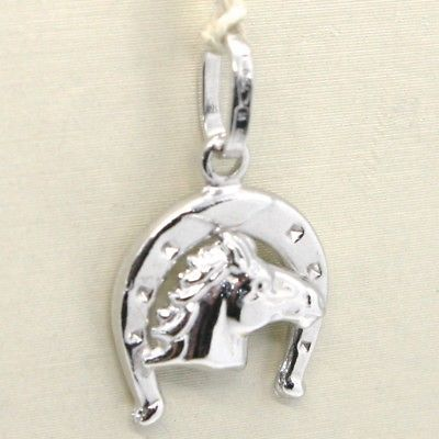 18K WHITE GOLD HORSESHOE AND HORSE CHARM PENDANT SMOOTH BRIGHT MADE IN ITALY