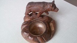 Antique BLACK FOREST fine CARVED Bear Brienz German Hunting Deco cabin ashtray image 1
