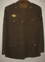 Vintage Mens Wool Army Green Suit Coat & Pants Uniform - $92.07