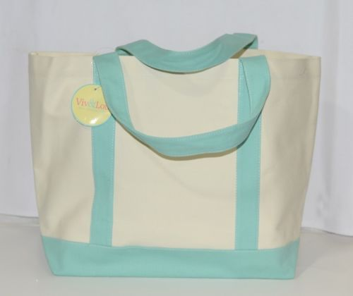 Viv and Lou M730VLMINT Sullivan Collection Canvas Mint Accents Tote