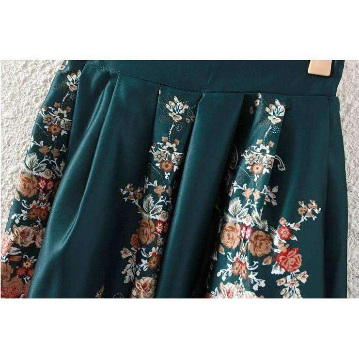 Retro Pleated Floral Print Women Midi Skirts
