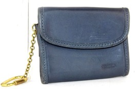Authentic COACH Navy Leather Coin Case Coin / Key Folder Flap Button Clo... - $9.89