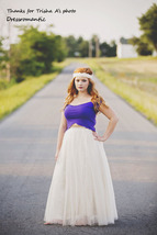 Plus Size Adult Tutus Full Long Plus Size Tulle Skirt Petticoats- Ivory, 5 layer