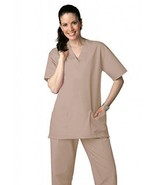 Khaki Scrub Set XL V Neck Top Drawstring Pants Unisex Uniforms 2 Piece New - $35.25