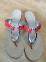 Marc Fisher Red SANDALS, Size 9.5, Silver Metal Accent,   S2 - $14.85