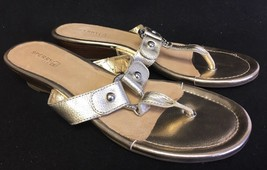 Sperry Ash Wedge Sandal Thong Flip Flop Platinum Gold Leather Women Size... - $37.99