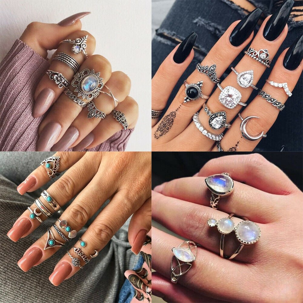 Primary image for 2019 New Fashion Retro Set Silver Gold Boho Moon Flower Midi Finger Knuckle Ring