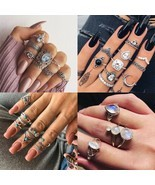 2019 New Fashion Retro Set Silver Gold Boho Moon Flower Midi Finger Knuc... - €8,68 EUR