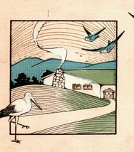 c 1918 Postcard Stork Blue Birds Hearty Good Wishes New Baby American Re... - $7.99
