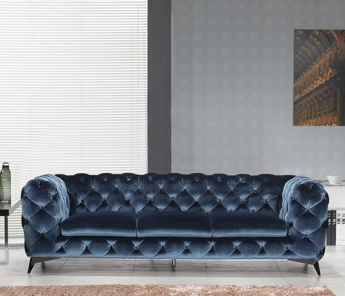 J&M Glitz  Modern Blue Velour Fabric Living Room Sofa  Traditional
