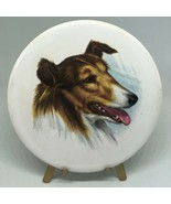 "Antique Vintage Victorian Collie Dog Porcelain Art With Stand 3.5""  - $18.00"