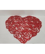 Valentines Vinyl Red Hearts Cut Out Placemats Decorations Set of 4 - $24.99