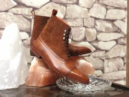 Handmade Men's Brown High Ankle Lace Up Leather & Suede Boots image 2