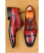 Handmade Men's Red Leather Oxfords Shoes, Real Leather Dress Shoes For Men - $159.99+
