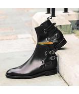New Men's jodhpurs style boots, double monk strap buckle boots,black dre... - $159.99+