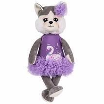 Rakki Dolli Plush Husky Dog Dressed in Lovely Cloth Grey Dog Plush Toy D... - $33.05