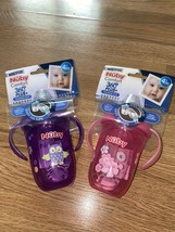 (2) Nuby 360 Comfort Plus Baby Toddler Trainer Sippy Cup Blue 4+ Months - $19.34