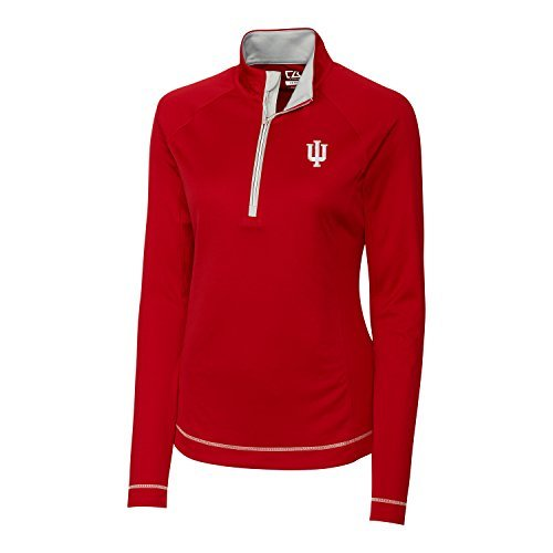 Cutter & Buck NCAA Indiana Hoosiers Women's Long Sleeve Evolve Half Zip Top, Car