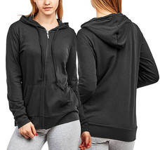 Women's Cotton Blend Lightweight Athletic Activewear Black Zip Up Hoodie Jacket image 1