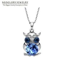 Neoglory Blue Austrian Crystals Owl Maxi Boho Long Necklaces & Pendants ... - $16.98