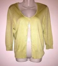 2d1e711015 cardigan sweater ann taylor loft womens m spring green button down soft  silk -  13.00