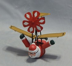 Unique Whirligig Santa Ornament Wood and Metal  - $14.85