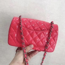 AUTH NEW Chanel RARE PINK Quilted PATENT LEATHER Large Mini 20CM Flap Bag SHW image 6
