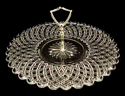 47745a glass sandwich server tray center handled plate 12 inch basketweave lattice vintage