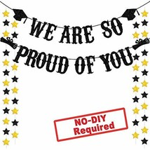 Graduation Party Supplies 2019 Glitter Black We are So Proud of You Bann... - $12.27
