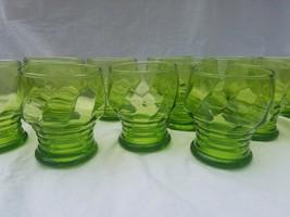 12 Vintage Glasses  Glass Juice Depression Green ?Vaseline tumbler Honey... - $23.21