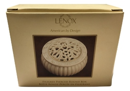 Lenox Filigree Pierced Round Porcelain Covered Box - $34.65