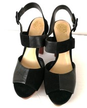 Vince Camuto Black Heel Sandals Black Suede & Leather Checkerboard style... - $79.99