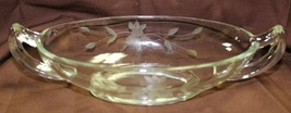 "Vintage Imperial Glass 8"" Relish Celery Dish Handles Etched Flower Jelly... - $12.99"