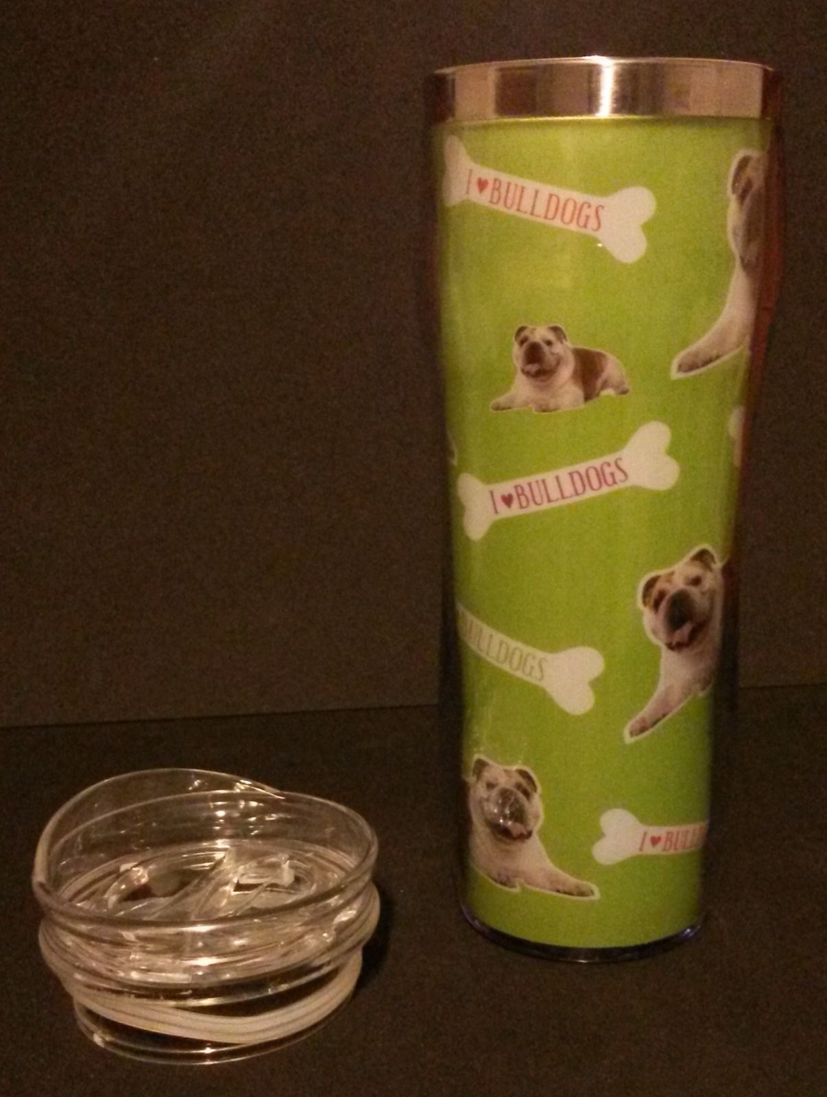 Bulldog Water Bottle, double-wall insulated, BPA-free plastic Dog NEW