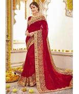 Bollywood Designer Saree Wedding Wear Sari Embroidered Party Saree Brida... - $88.99