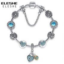 ELESHE Luxury Blue Crystal Bracelet Wedding Silver Bracelet Rhinestone Heart Cha - $10.27