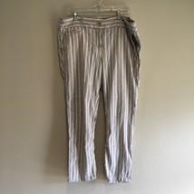 Ann Taylor LOFT Linen Women Pants Marisa style Beige Blue Striped size 1... - $9.81