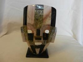 "Vintage Hand Made Ceramic Tribal Mask Figurine 8"" Tall Multi Colored - $44.55"