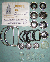 Full set London Fog Trench Coat findings 4-hole flat buttons metal D rings - $18.46