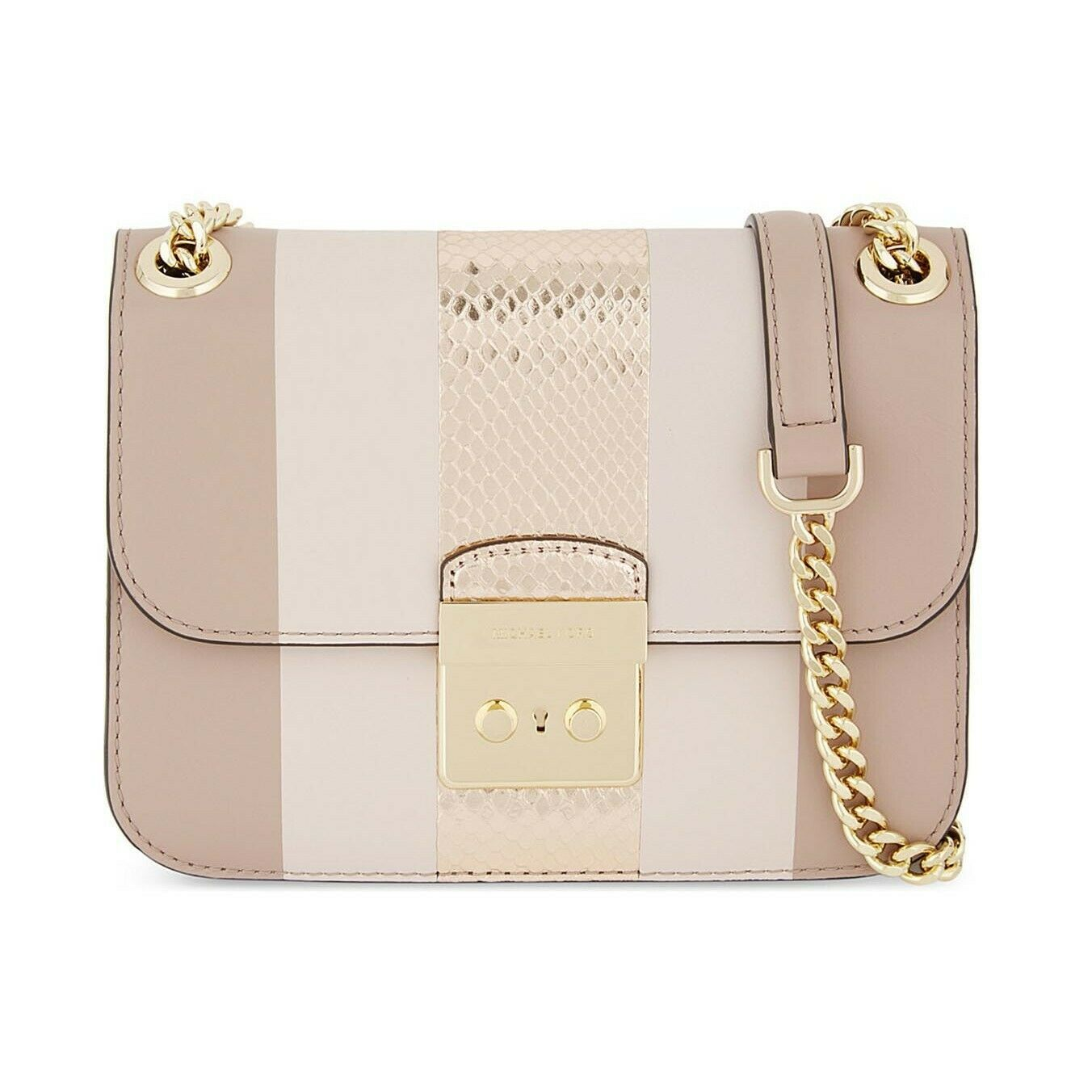 0561ed7abca6 57. 57. Previous. NWT MICHAEL KORS Sloan Stripe Crossbody Gold Chain Bag  Purse Pink 30S7GIKL2M NEW