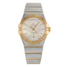 Omega Constellation Silver Dial Day 18K Gold Steel Men Watch 123.20.38.2... - $4,511.06