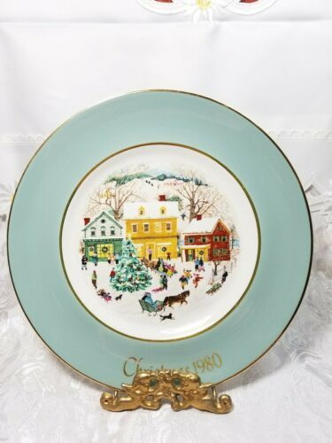 Vintage 1980 Avon Plate Series 8th Edition Enoch Wedgwood Country Christmas