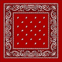 NEW MEN'S PREMIUM 12 PACK COTTON PAISLEY HEAD WRAP SCARF WRISTBAND BANDANA RED image 2