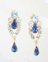 Elegant Blue Rhinestone Drop  Clip Earrings 1950s vintage - £10.96 GBP