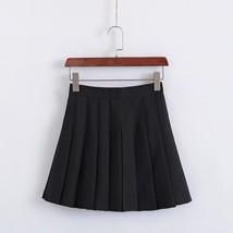 Women Girls Campus Style Pleated Mini Skirt School Skirt, Black White, Plus Size image 3