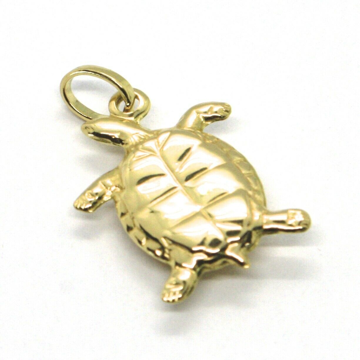 18K YELLOW GOLD PENDANT, ROUNDED TURTLE, SMOOTH, 0.7 INCHES, MADE IN ITALY