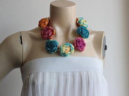 Crochet Necklace-Multicolor Rose Necklace-Teal,Yellow,Pink,Orange Rose N... - $25.00