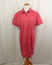 Eddie Bauer Red Short Sleeve Button Front Shirt Dress Cotton Large Women... - $18.52