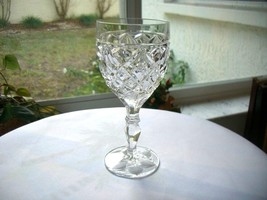 """Set of 7 Crystal Clear Water Glasses Diamond Pattern 6 3/4"""" Tall - $17.82"""